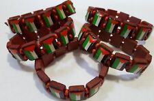 5 Wood Palestinian Flag Elastic Band Bracelet Wristband SUPPORT FREE PALESTINE