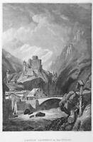 AUSTRIA TYROL SCHLOSS LANDECK CASTLE INNTAL VALLEY ~ c 1837 Art Print Engraving
