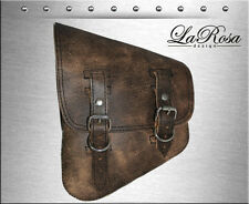 LaRosa Rustic Brown Leather Harley Softail Rigid Left Swing Arm Saddlebag