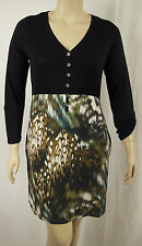 Virtu ts14+ Black Multi Soft 3/4 Sleeve Dress Tunic Plus Size M 18/20 BNWOT # T7