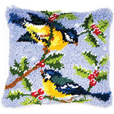 Vervaco Latch Hook  Cushion Kit : Winter Scene Blue Tits