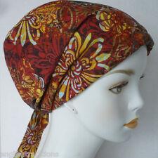 Contemporary Rust Floral Cancer Hat Chemo Cap Hair Loss Scarf Turban Head Wrap