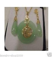 Title448 Jewelry 18K GP Jade Pendant & Earrings Set + chain