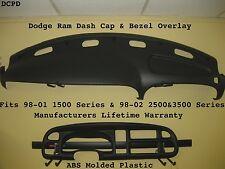 98 99 00 01 02 Dash Cap & Bezel Overlay Fits Dodge Ram Pick Up / Black Color
