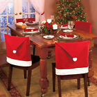 Cozy Christmas Dinner Table Party Decor Santa Claus Red Hat Chair Back Cover