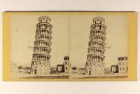 Italia Torre Di Pisa c1865 Foto Stereo Vintage Albumina PL64L3