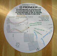 Pioneer PL-510/512/514/516/516/518/520/530/540/550/560 Tonearm Stylus Protractor