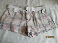 NEW Maurices plaid shorts woman's 9/10  with tags belted mid rise   B3