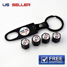 MUSTANG VALVE STEM CAPS + KEYCHAIN WHEEL TIRE BLACK - US SELLER VS37