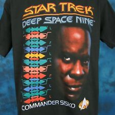 vintage 90s STAR TREK DEEP SPACE NINE SISKO T-Shirt LARGE tv movie sci fi space