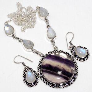 Purple Fluorite Rainbow Moonstone Handmade Ethnic Necklace Earrings Set GW