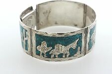 Vtg Mexico Sterling Silver Turquoise Inlay Pictorial Story Panel Bracelet - 7""