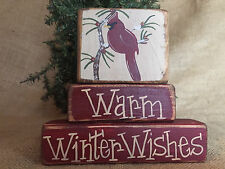 Country Cardinal Redbird Warm Winter Wishes 3 pc Shelf Sitter Wood Block Set