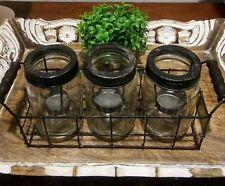 Rustic Mason Jars 3 Tea Light Candle Holder NWOT FARMHOUSE Chic! Pair w/Rae Dunn