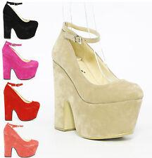 Mujer señoras correa de tobillo Plataforma Zapatos Sandalias Tacón Alto Cuña