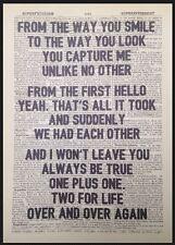 """Una y otra vez"""" """"Nathan Sykes Letras Vintage Diccionario Pared Arte Impresión"""