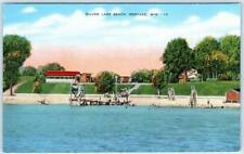 PORTAGE, Wisconsin  WI    SILVER LAKE BEACH  ca 1940s Linen  Postcard