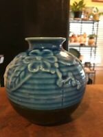 Pottery Vase Hand Crafted Blue Black Ceramics Glaze Made in Vietnam  Flower