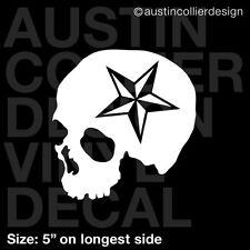 "5"" SKULL w/ NAUTICAL STAR vinyl decal car truck laptop sticker - moto x fmx"