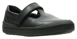 Clarks ROCK MOVE Girls Black Leather School Shoes 8 - 2 FGH NEW BOXED