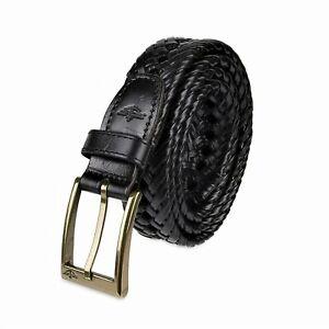 Dockers Men's 32MM Big & Tall V-Weave Braided Leather Belt