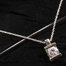 White Tourmaline Pendant Necklace 18� Estate Sterling Silver Compression Set