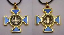 """St. Benedict Celtic Crucifix Gold Plate - Blue Enamel Pendant 1.5"""" w/ Cord"""