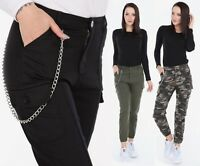 UTILITY COMBAT CARGO TROUSERS WOMENS MILITARY BERMUDA CHAIN CAMO PANTS 6 TO 16