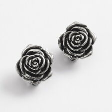 **BEAUTIFUL ROSE SHAPED CLIP-ON EARRINGS - ANTIQUE STYLE SILVER PLATED**