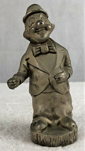 Vintage Smiling Circus Clown Solid Pewter Coin Money Box 680grams Excellent Cond