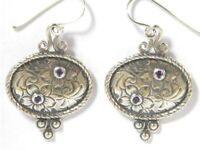 Sterling Silver Earrings Israeli jewelry dangling floral designer amethyst cz