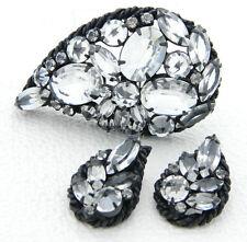 VTG Stunning Black Japanned Clear Rhinestone Pin Brooch Earring Set
