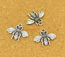 20 Bee Charms Antique Silver Bumble Bee Buzz Insect Charm 20x23 Nature 0645