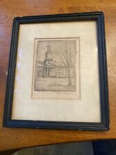 Don Swann An Original Etching In Miniature Framed Very oldSigned Exclusive!