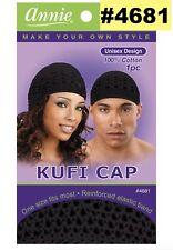 """ANNIE #4681 UNISEX KUFI CAP ONE SIZE FITS MOST 100% COTTON BLACK 8 1/4"""" X 6"""""""