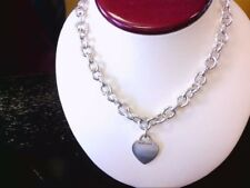 "Nice Tiffany & Co Sterling 925 Engravable Heart Tag Link 16"" Chain. BUY NOW!!"