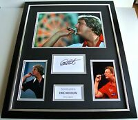 Eric Bristow SIGNED FRAMED Huge Photo Autograph display Darts Signing PROOF COA