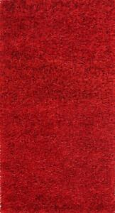 Glamour Red Plush Modern 3x5 Shaggy Shag Oriental Area Rug 5' 0'' x 2' 6''