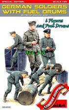German Soldiers with Fuel Drums (6 Figures) Plastic Model Kit 1/35 Miniart 35256