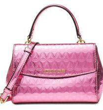 New Michael Kors Ava Mini XS Crossbody Glimmering leather bag soft pink holiday