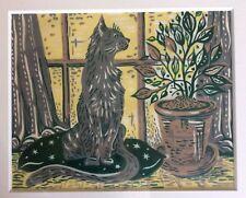 Audrey Pilkington linograbado Enmarcado Gato en plantas de ventana