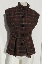 CABI 691 Brown Plaid Wool Blend Cinch It Up Sleeveless Fitted Jacket Vest size S