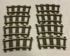 Set of 8 LEGO 4520 9V 9 Volt Curved Metal Rails Train Tracks Dark Gray Used