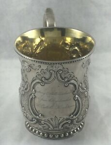 """Great Floral Coin Silver by Ball,Thompkins & Black Large Floral Cup- 3 7/8"""""""