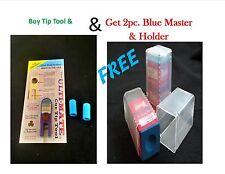 Cue Tip Shaper Combo - Purple Ultimate Tip Tool & 2 Protectors + 2 Master chalk