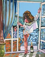 Cigar Champagne Babe Original Art Painting DAN BYL Contemporary Modern 4x5ft