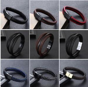 Men 20.5cm Leather Rope Wrap Alloy Braided Bangle Bracelet Wristband Buckle