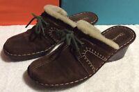 BARETRAPS Leather Suede Clogs Slip on Shoes Brown Faux Fur Lining Women's 8.5 M