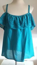 BNWT LADIES SIZE 20 BLUE FRILLED NECK LINE  TOP BY PAPAYA