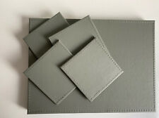 NEW SET 4 FAUX LEATHER GREY REVERSIBLE PLACEMATS 4 COASTERS PLACE SETTINGS.